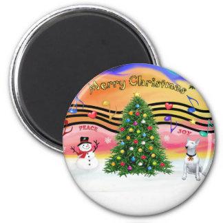 Música 2 del navidad - bull terrier 1 iman de frigorífico
