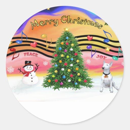 Música 2 del navidad - bull terrier 1 etiqueta redonda