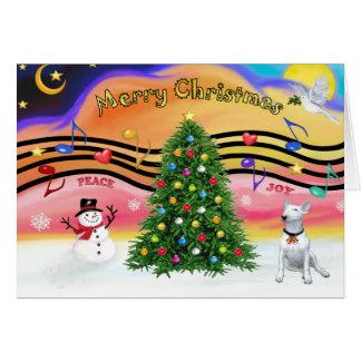Música 2 del navidad - bull terrier 1 tarjeta de felicitación