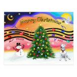 Música 2 del navidad - bull terrier 1 tarjeta postal