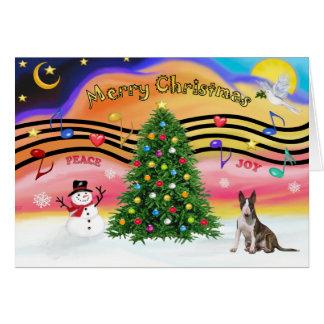 Música 2 del navidad - bull terrier (brindle) tarjeta