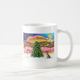 Música 2 del navidad - bull terrier (brindle) taza básica blanca