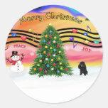 Música 2 del navidad - caniche (blackToy) Etiquetas Redondas