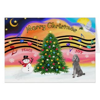 Música 2 del navidad - caniche (estándar de plata) tarjeta de felicitación