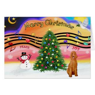 Música 2 del navidad - caniche estándar del albar tarjetón