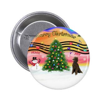 Música 2 del navidad - caniche (estándar del choco pin redondo 5 cm