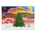 Música 2 del navidad - caniche (juguete blanco) felicitacion