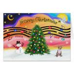 Música 2 del navidad - chihuahua (cervatillo) tarjeta