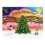 Música 2 del navidad - chihuahua (cervatillo) postal