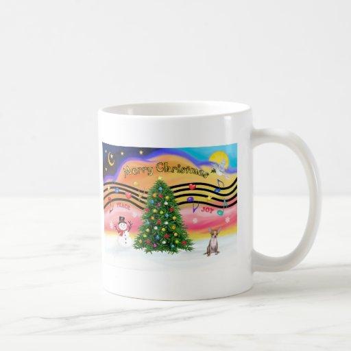 Música 2 del navidad - chihuahua (cervatillo) taza básica blanca
