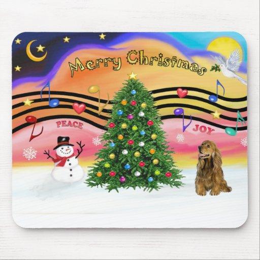 Música 2 del navidad - cocker spaniel (marrón) alfombrillas de ratón