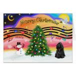 Música 2 del navidad - cocker spaniel (negro) felicitacion