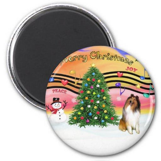 Música 2 del navidad - collie 1 imán redondo 5 cm