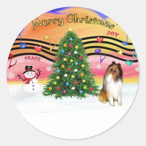 Música 2 del navidad - collie 1 pegatina redonda