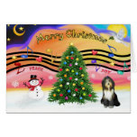 Música 2 del navidad - collie barbudo 9 tarjeta