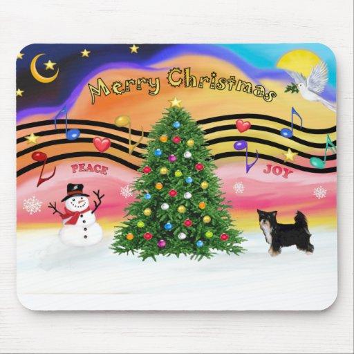 Música 2 del navidad - con cresta chino (Soplo-BW) Tapetes De Ratones