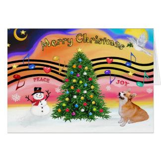 Música 2 del navidad - Corgi Galés del pembroke (7 Tarjeton