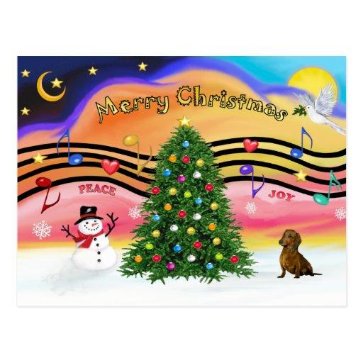 Música 2 del navidad - Dachshund () Postales