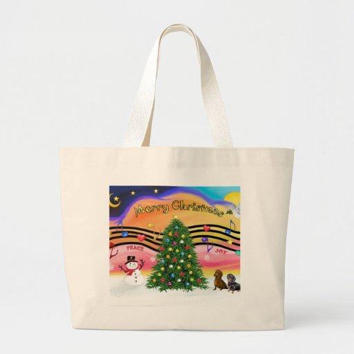 Música 2 del navidad - Dachshunds (dos) Bolsas