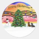 Música 2 del navidad - Dachshunds (dos) Pegatina Redonda