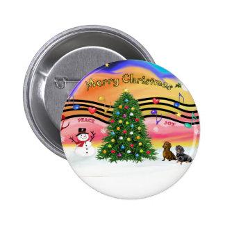 Música 2 del navidad - Dachshunds (dos) Pin Redondo 5 Cm