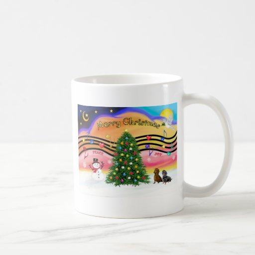 Música 2 del navidad - Dachshunds (dos) Taza Básica Blanca