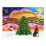 Música 2 del navidad - Doberman rojo Tarjetas Postales