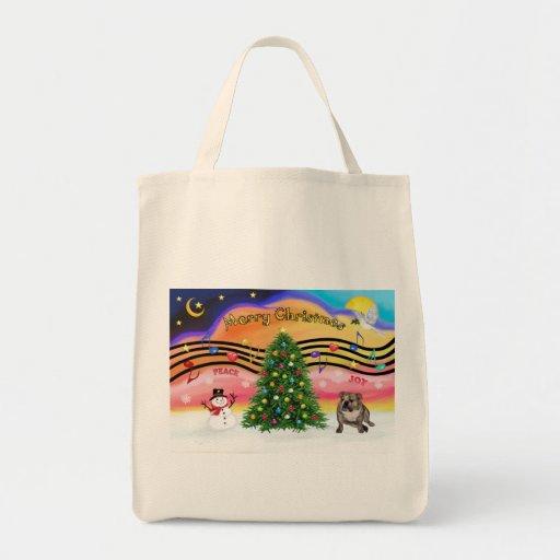 Música 2 del navidad - dogo de Engilsh (4) brindle Bolsa Tela Para La Compra