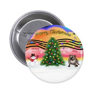 Música 2 del navidad - dogo de Engilsh (4) brindle Pin Redondo 5 Cm