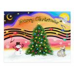 Música 2 del navidad - dogo francés 1 postal