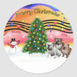 Música 2 del navidad - dogos ingleses (tres) pegatinas redondas