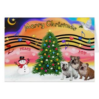 Música 2 del navidad - dogos ingleses tres tarjeta