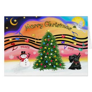 Música 2 del navidad - escocés Terrier 12 Tarjetón
