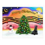 Música 2 del navidad - escocés Terrier Tarjeta Postal