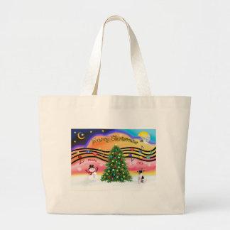 Música 2 del navidad - fox terrier del juguete bolsa tela grande