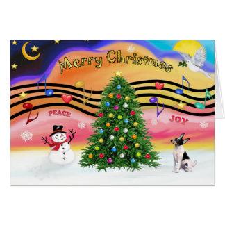 Música 2 del navidad - fox terrier del juguete tarjeta de felicitación