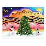 Música 2 del navidad - fox terrier del juguete postal