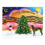 Música 2 del navidad - galgo (8) brindle postal