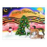 Música 2 del navidad - galgos (cuatro) postal