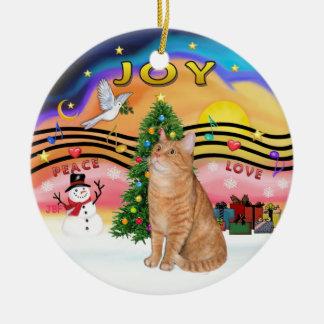 Música 2 del navidad - gato de tabby anaranjado 40 adorno navideño redondo de cerámica