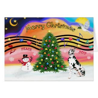 Música 2 del navidad - great dane (Harlequin) Felicitaciones