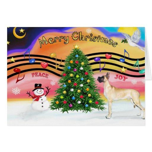 Música 2 del navidad - great dane (soporte del cer tarjeta de felicitación