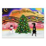 Música 2 del navidad - great dane (uncropped negro tarjetas