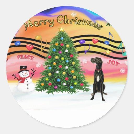 Música 2 del navidad - great dane (uncropped etiqueta redonda