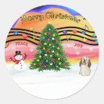 Música 2 del navidad - Havanese 2 Pegatina Redonda