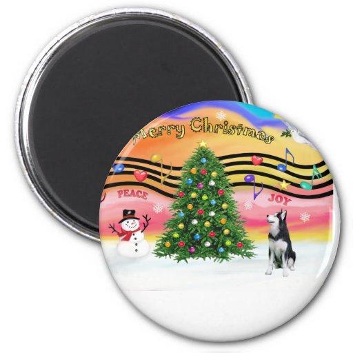 Música 2 del navidad - husky siberiano iman para frigorífico