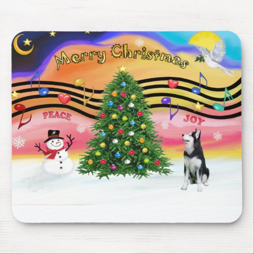 Música 2 del navidad - husky siberiano mousepads