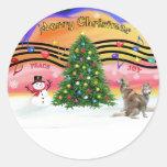 Música 2 del navidad - husky siberiano (rojo dos) etiquetas