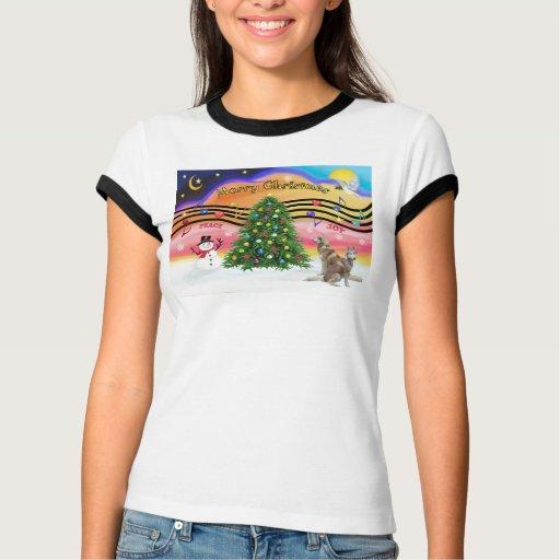 Música 2 del navidad - husky siberiano (rojo dos) t shirt
