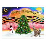 Música 2 del navidad - husky siberiano (rojo dos) postales